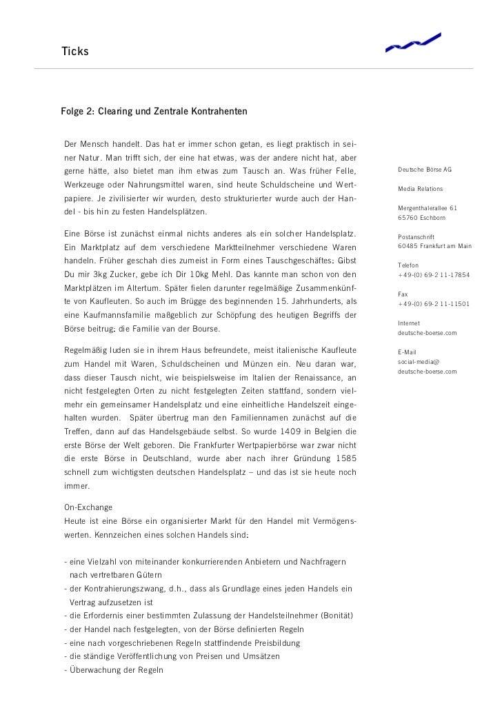 TicksFolge 2: Clearing und Zentrale KontrahentenDer Mensch handelt. Das hat er immer schon getan, es liegt praktisch in se...