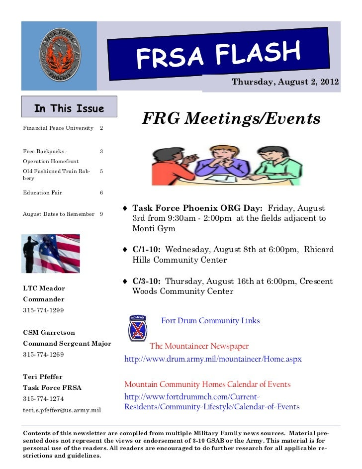 FRSA FLASH                                                                    Thursday, August 2, 2012    In This IssueFin...