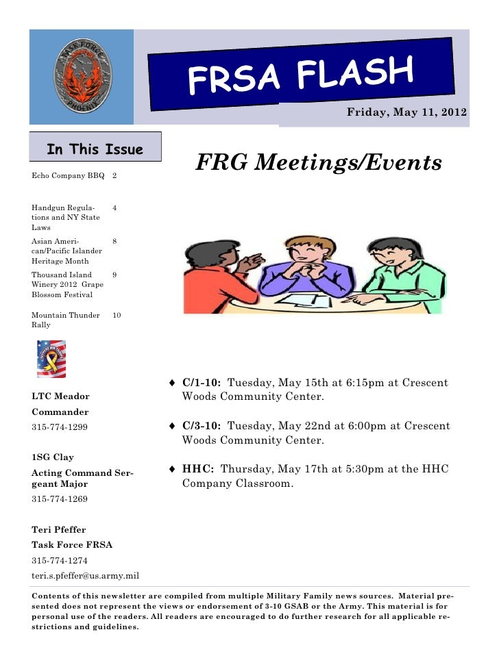 FRSA FLASH                                                                           Friday, May 11, 2012    In This Issue...