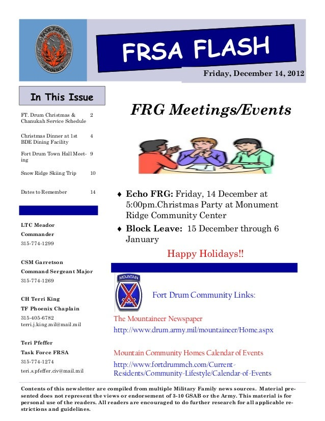 FRSA FLASH                                                                   Friday, December 14, 2012    In This IssueFT....
