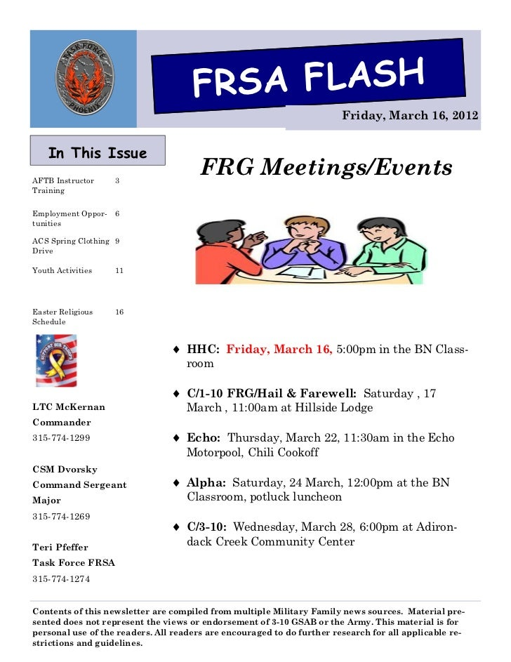 FRSA FLASH                                                                        Friday, March 16, 2012    In This IssueA...