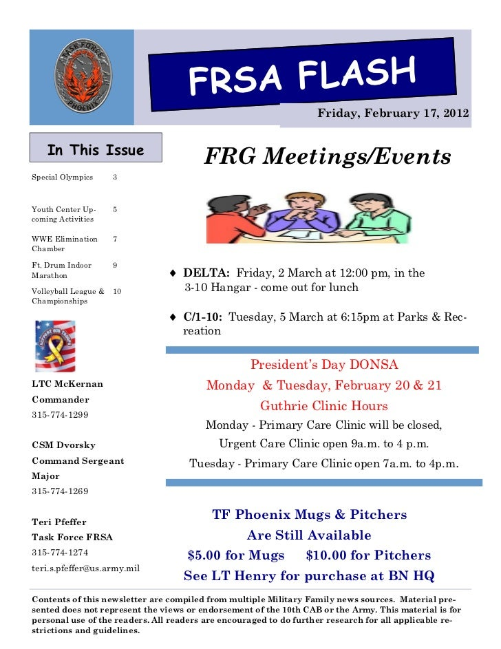 FRSA FLASH                                                                   Friday, February 17, 2012    In This Issue   ...