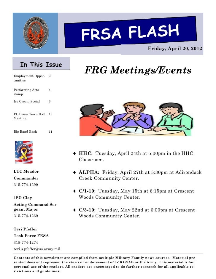 FRSA FLASH                                                                          Friday, April 20, 2012    In This Issu...