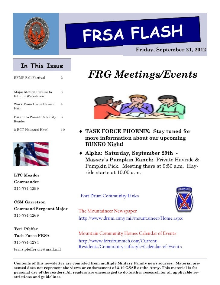 FRSA FLASH                                                                  Friday, September 21, 2012    In This IssueEFM...