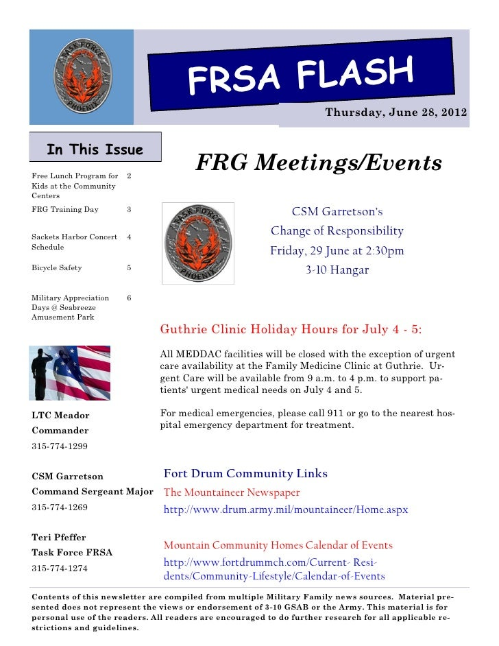 FRSA FLASH                                                                      Thursday, June 28, 2012    In This IssueFr...