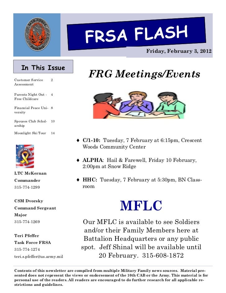 FRSA FLASH                                                                    Friday, February 3, 2012    In This IssueCus...