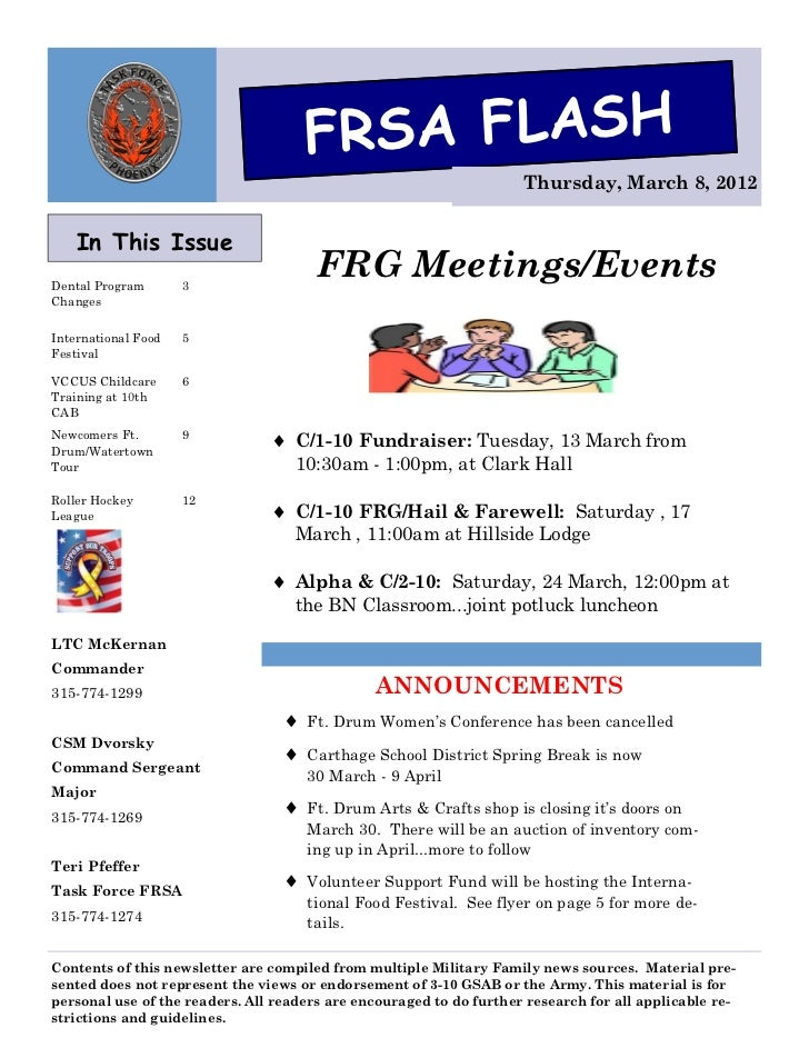 FRSA FLASH                                                                     Thursday, March 8, 2012    In This IssueDen...