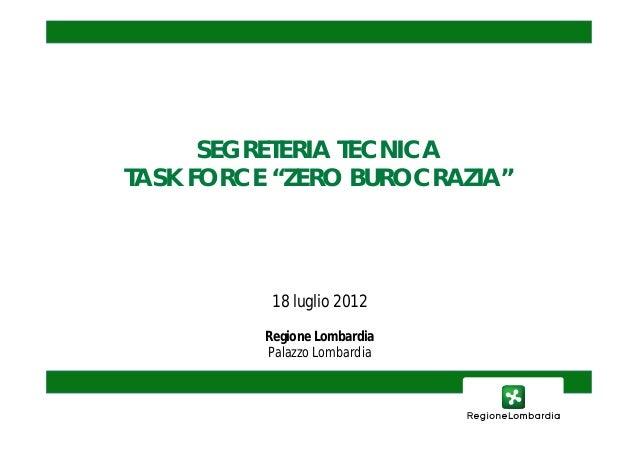 """SEGRETERIA TECNICATASK FORCE """"ZERO BUROCRAZIA""""           18 luglio 2012          Regione Lombardia          Palazzo Lombar..."""