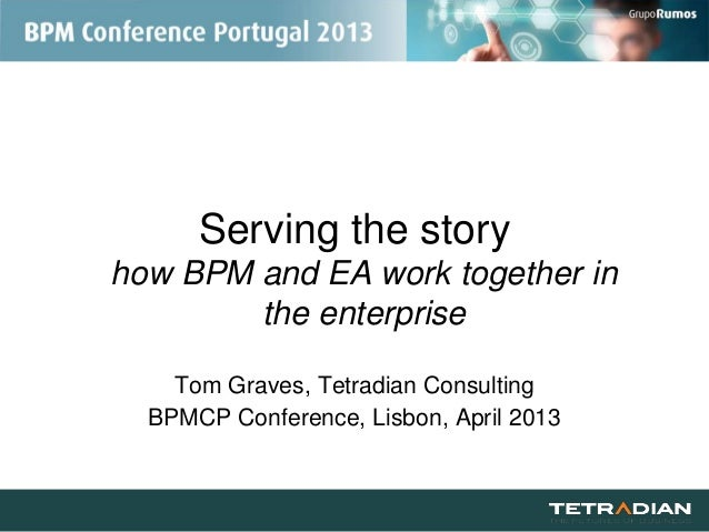 Serving the storyhow BPM and EA work together inthe enterpriseTom Graves, Tetradian ConsultingBPMCP Conference, Lisbon, Ap...