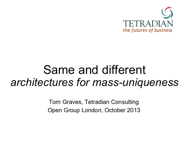 the futures of business  Same and different  architectures for mass-uniqueness Tom Graves, Tetradian Consulting Open Group...