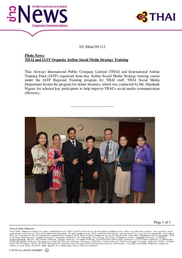 TG 200nt/291112Photo News:THAI and IATF Organize Airline Social Media Strategy TrainingThai Airways International Public C...