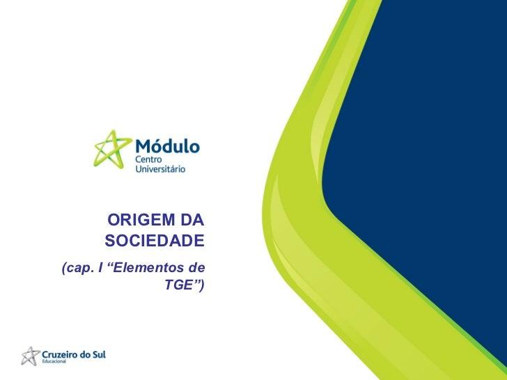 """ORIGEM DA SOCIEDADE (cap. I """"Elementos de TGE"""")"""