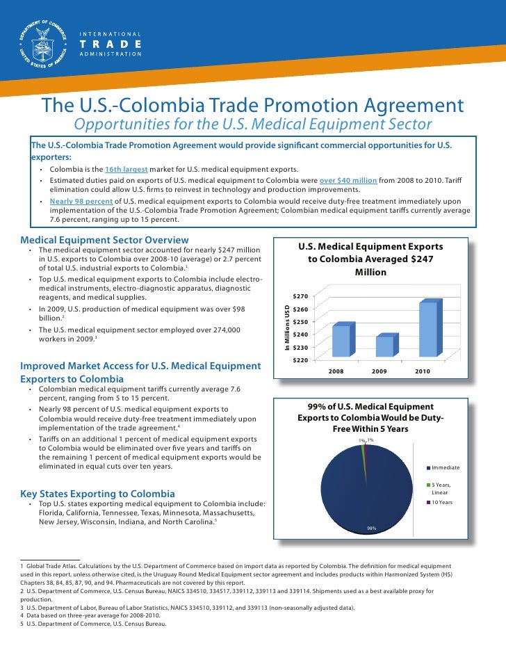 The U.S.-Colombia Trade Promotion Agreement                  Opportunities for the U.S. Medical Equipment Sector   The U.S...