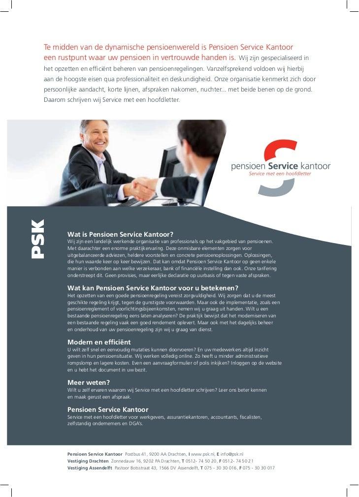 TGJ Communicatie Pensioen Service Kantoor leaflet