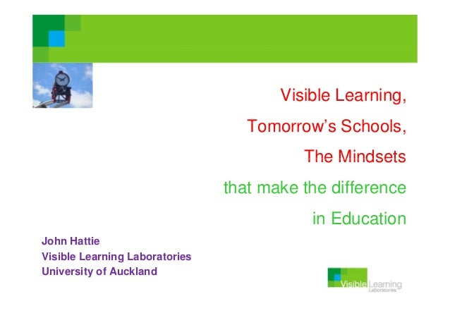 Visible Learning, Tomorrow's Schools Schools, The Mindsets that make the difference in Education John Hattie Visible Learn...