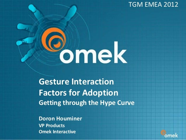TGM EMEA 2012Gesture InteractionFactors for AdoptionGetting through the Hype CurveDoron HouminerVP ProductsOmek Interactive