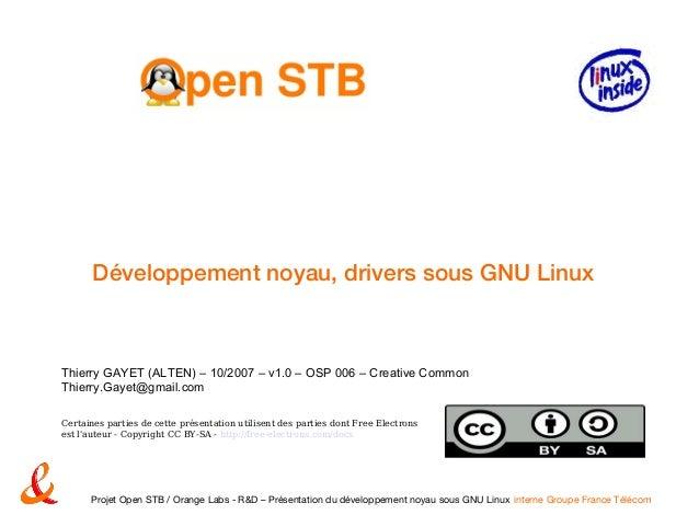 Développement Noyau Et Driver Sous Gnu Linux