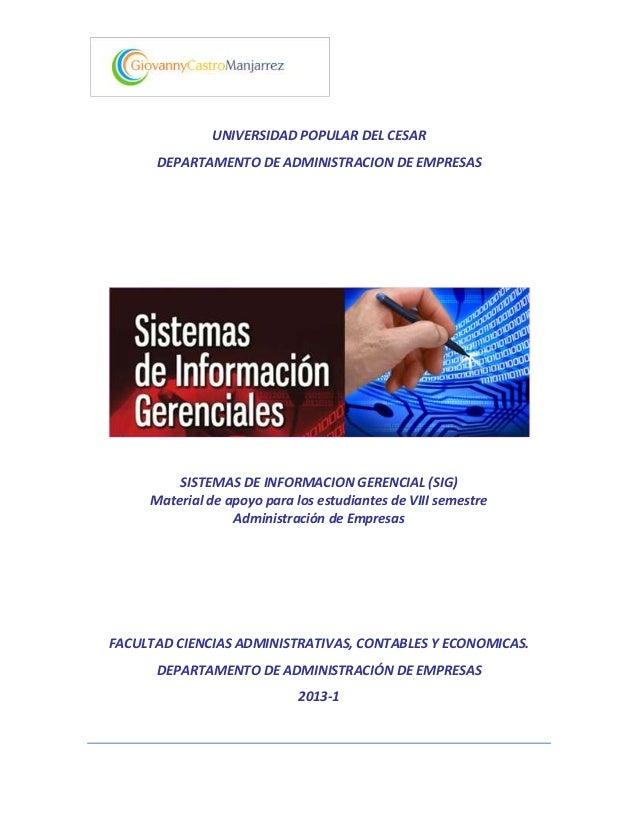 UNIVERSIDAD POPULAR DEL CESAR      DEPARTAMENTO DE ADMINISTRACION DE EMPRESAS         SISTEMAS DE INFORMACION GERENCIAL (S...