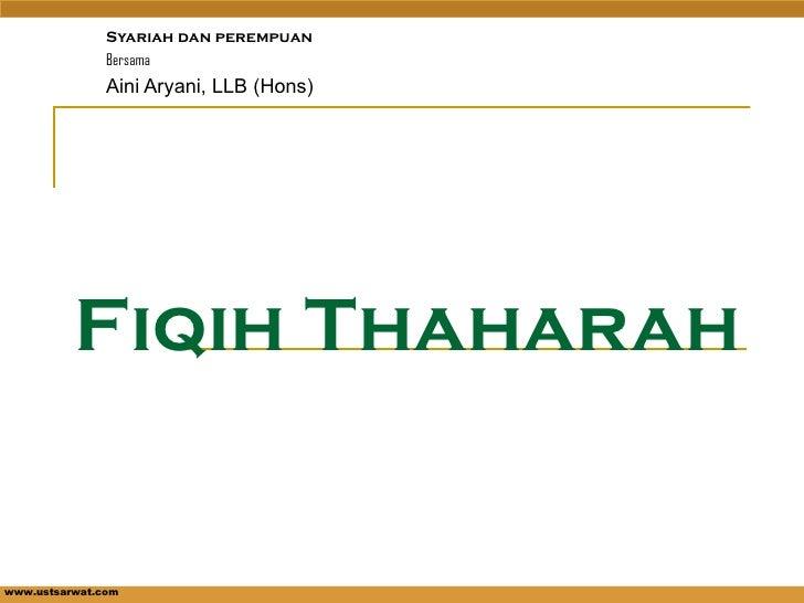 Fiqih Thaharah Syariah dan  perempuan Bersama  Aini Aryani, LLB (Hons)