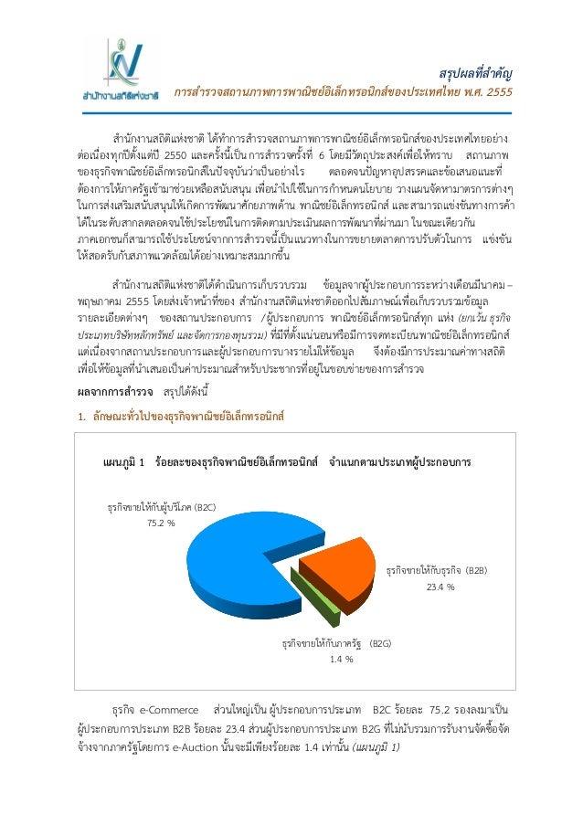 1 สรุปผลที่สาคัญ การสารวจสถานภาพการพาณิชย์อิเล็กทรอนิกส์ของประเทศไทย พ.ศ. 2555 สานักงานสถิติแห่งชาติ ได้ทาการสารวจสถานภาพก...