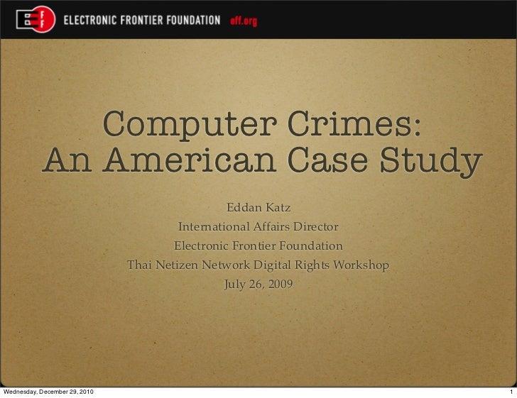 Computer Crimes: An American Case Study