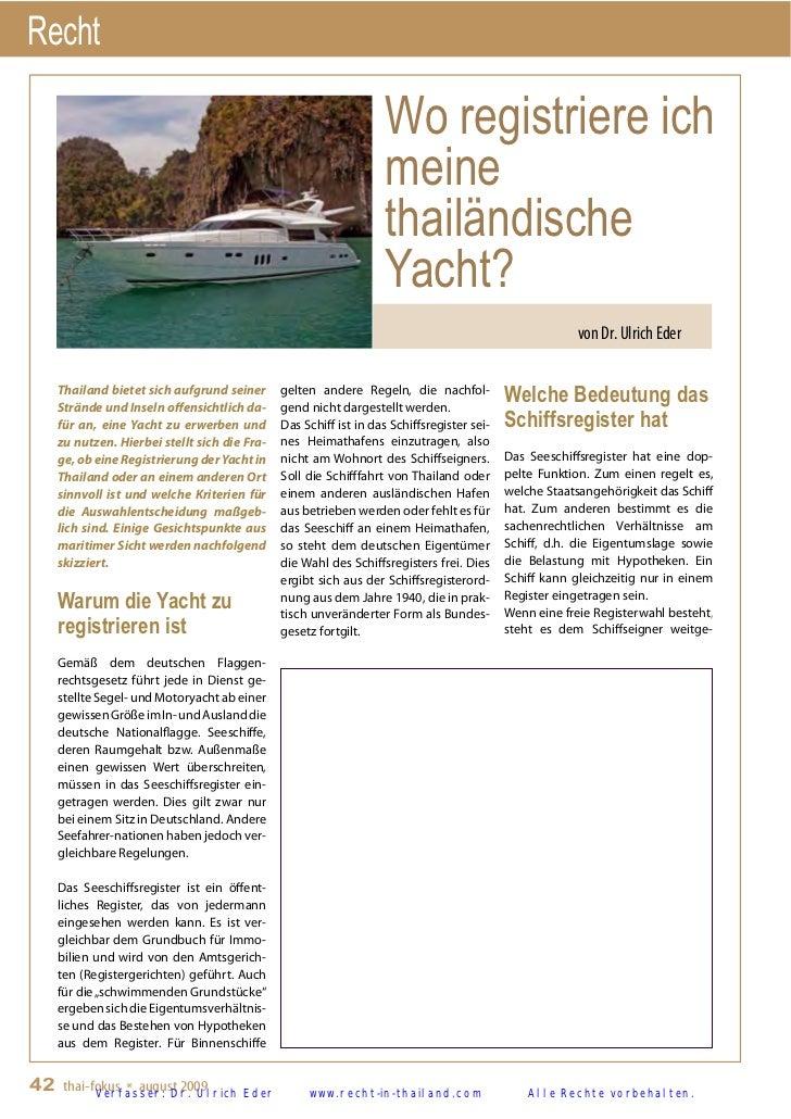 Yachtregistrierung in Thailand - von Rechtsanwalt und Steuerberater in Bangkok, Thailand