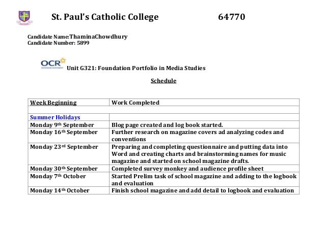 St. Paul's Catholic College 64770 Candidate Name:ThaminaChowdhury Candidate Number: 5899 Unit G321: Foundation Portfolio i...