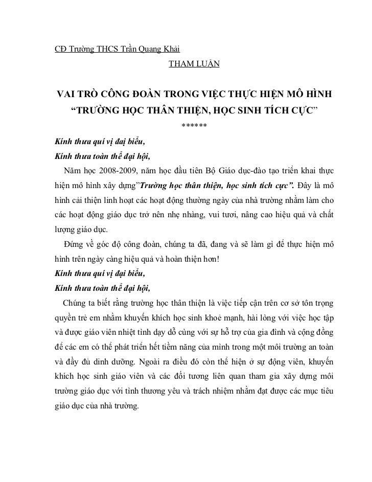 CĐ Trường THCS Trần Quang Khải                                 THAM LUẬN   VAI TRÒ CÔNG ĐOÀN TRONG VIỆC THỰC HIỆN MÔ HÌNH ...
