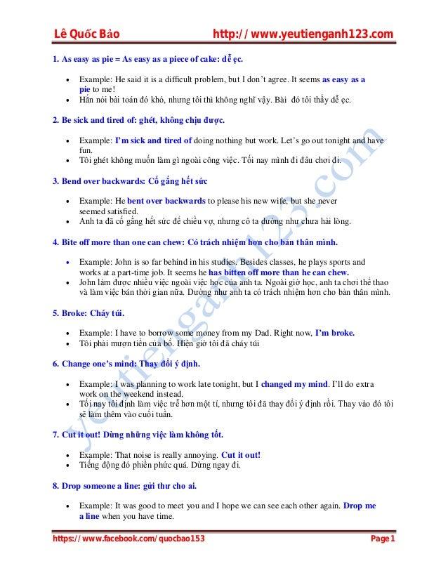 Lê Quốc Bảo http://www.yeutienganh123.com https://www.facebook.com/quocbao153 Page 1 1. As easy as pie = As easy as a piec...