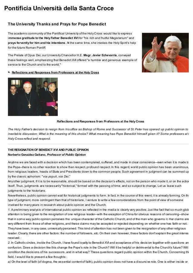 Pontificia Università della Santa Croce The University Thanks and Prays for Pope Benedict The academic community of the Po...