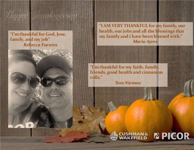 """""""I'm thankful for God, Jose, family, and my job"""" Rebecca Fuentes  """"I AM VERY THANKFUL for my family, our health, our jobs ..."""