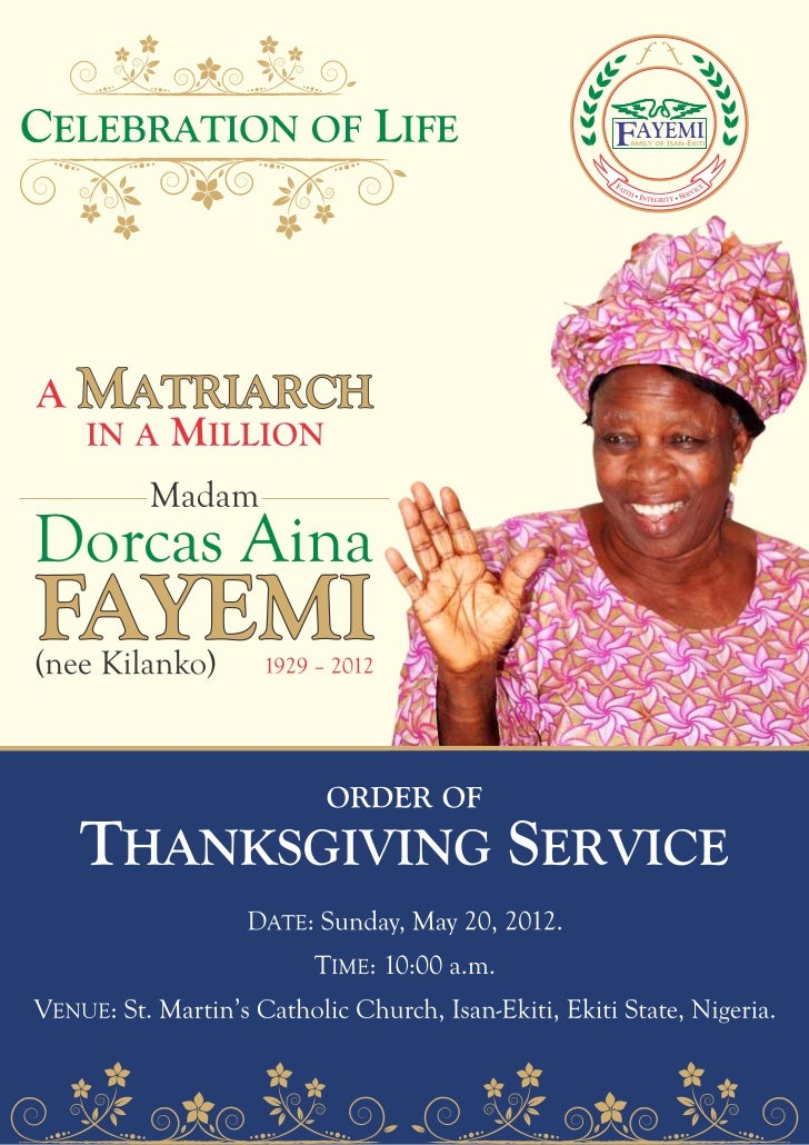 Order of Thanksgiving service