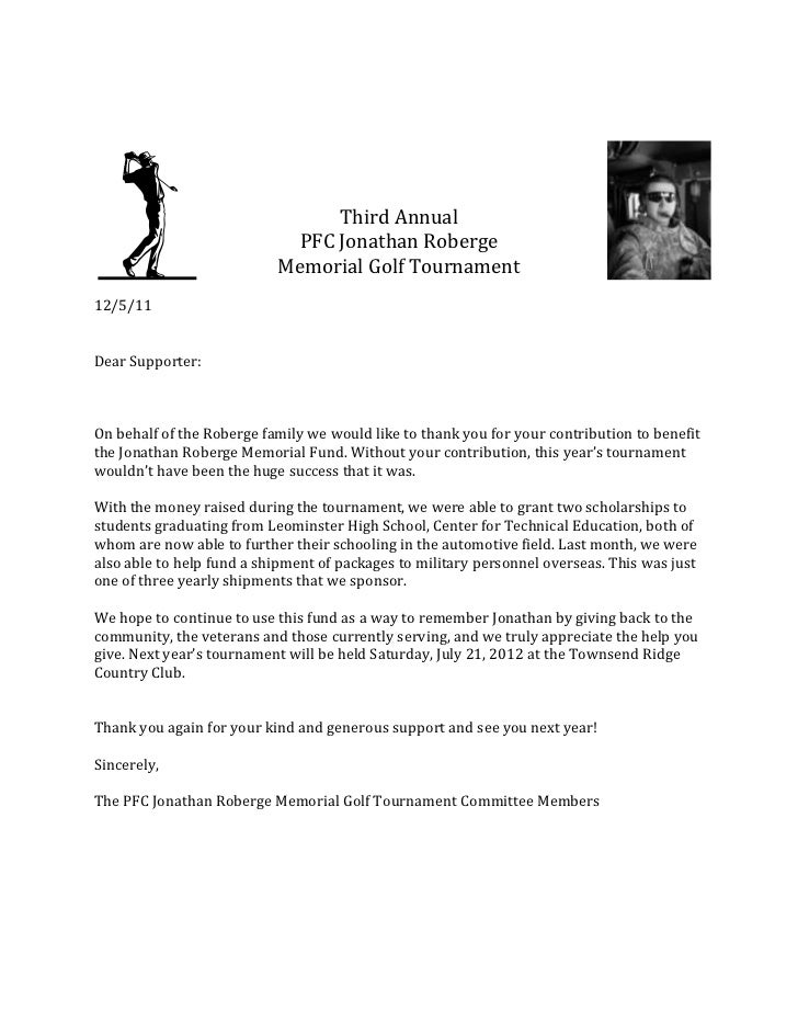 Thank You Letter - Memorial Golf Tournament
