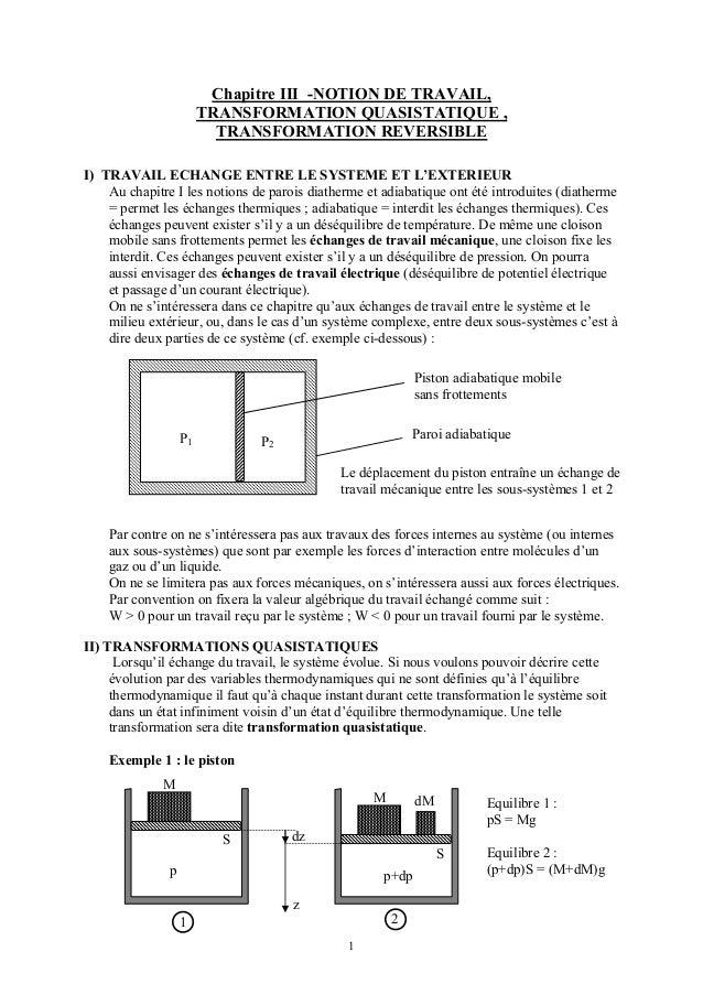 Chapitre III -NOTION DE TRAVAIL,                        TRANSFORMATION QUASISTATIQUE ,                          TRANSFORMA...