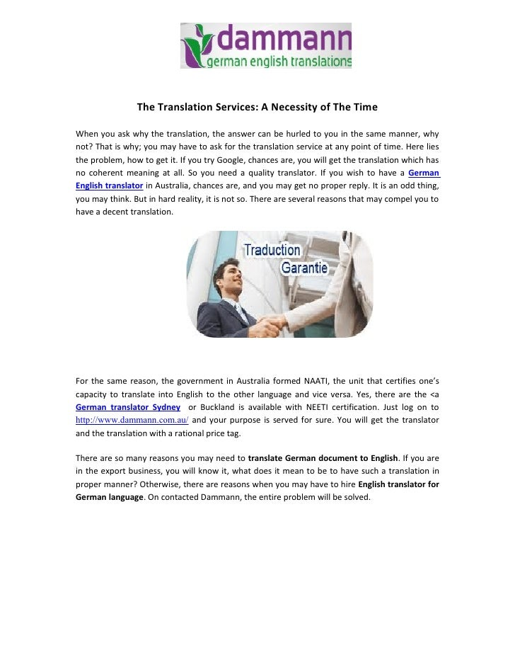 The Translation Services: A Necessity of The Time