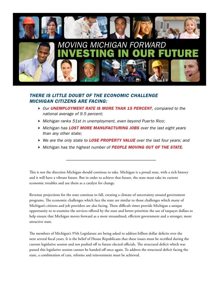 MOving Michigan FORWaRd                    InvestIng In our Future   There is liTTle doubT of The economic challenge michi...