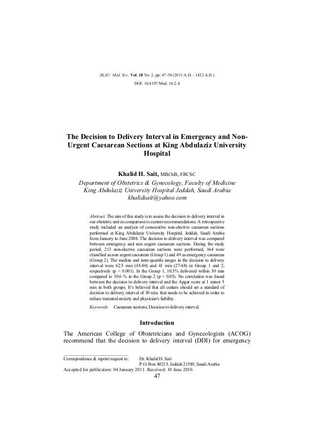 The decision to delivery interval in emergency and non
