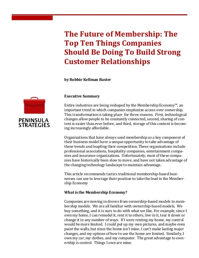 The	  Future	  of	  Membership:	  The	  Top	  Ten	  Things	  Companies	  Should	  Be	  Doing	  To	  Build	  Strong	  C...
