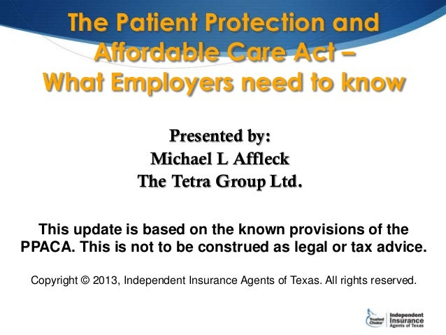 The patient protection and affordable care act – what employers need to know