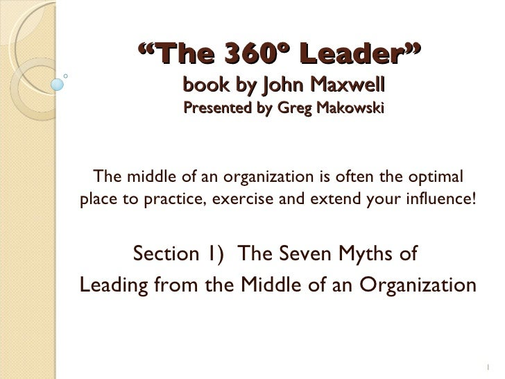 """"""" The 360º Leader""""  book by John Maxwell Presented by Greg Makowski The middle of an organization is often the optimal pla..."""
