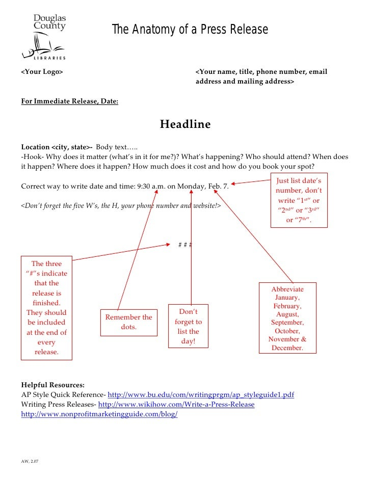 The Anatomy of a Press Release                                                             <YourLogo>                ...