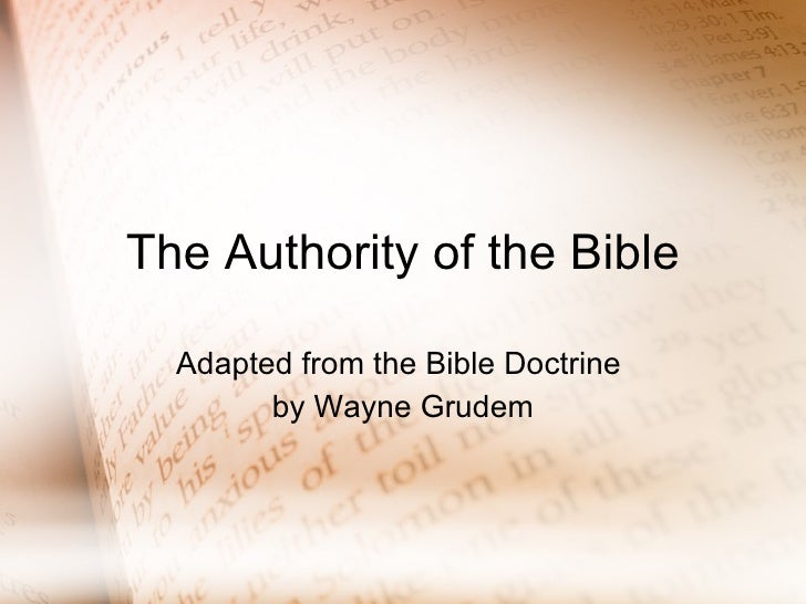 The Authority Of The Bible