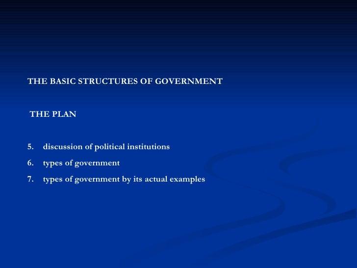 <ul><li>THE BASIC STRUCTURES OF GOVERNMENT </li></ul><ul><li>THE PLAN </li></ul><ul><li>discussion of political institutio...
