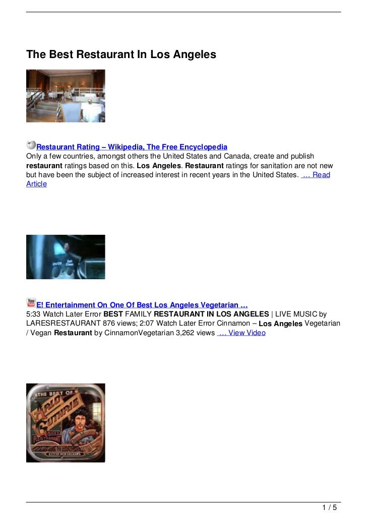 The Best Restaurant In Los Angeles   Restaurant Rating – Wikipedia, The Free EncyclopediaOnly a few countries, amongst oth...