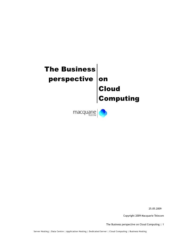 The Business perspective on Cloud Computing
