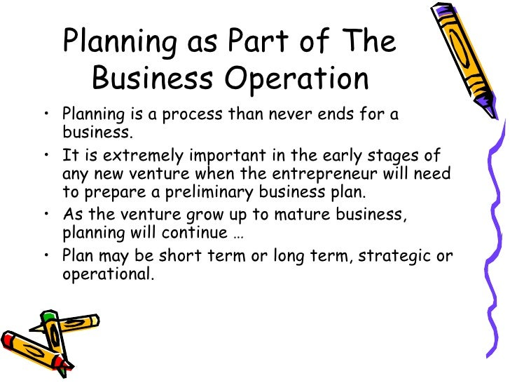 Part of a business plan