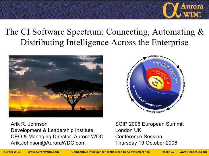 The CI Software Spectrum: Connecting, Automating & Distributing Intelligence Across the Enterprise Arik R. Johnson SCIP 20...