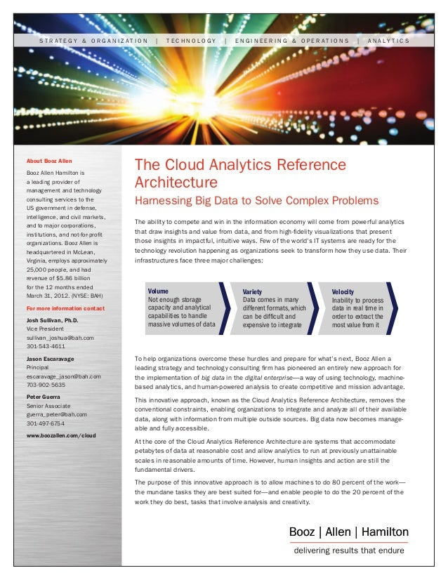 The Cloud Analytics Reference Architecture: Harnessing Big Data to Solve Complex Problems