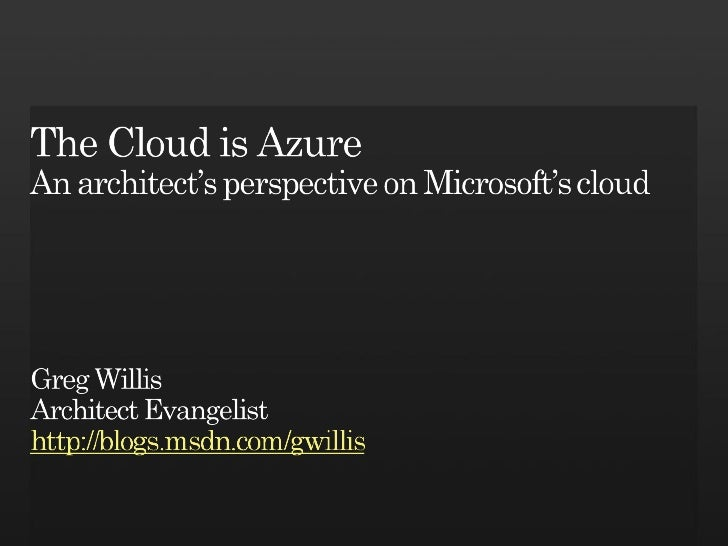 The Cloud is Azure