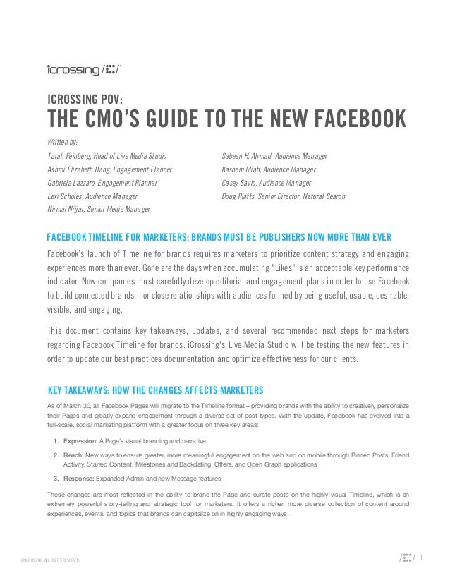 The CMO's Guide to the New Facebook